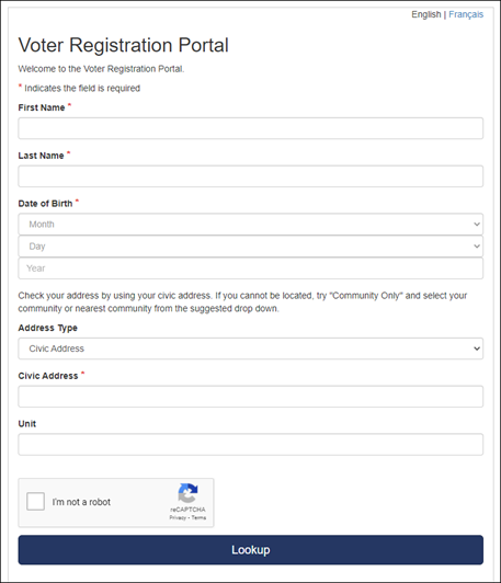 Voter Registration Portal Screenshot